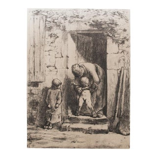 "Jean-François Millet, ""Maternal Duties"" 1959 Large Hungarian Print For Sale"