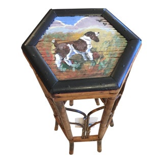 Hunting Dog Hand Painted Bamboo Side Table
