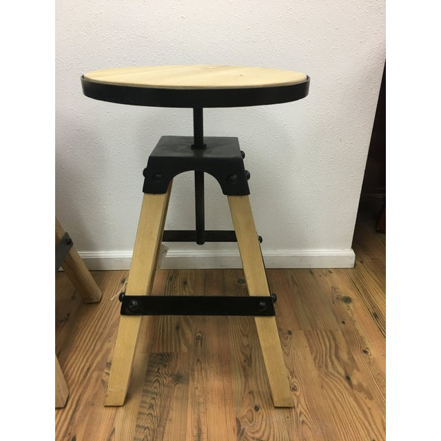 Noir Solid Wood & Black Steel Swivel Stool For Sale - Image 13 of 13