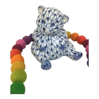Herend Style Hand Painted Blue and White Fishnet Teddy Bear Figurine For Sale