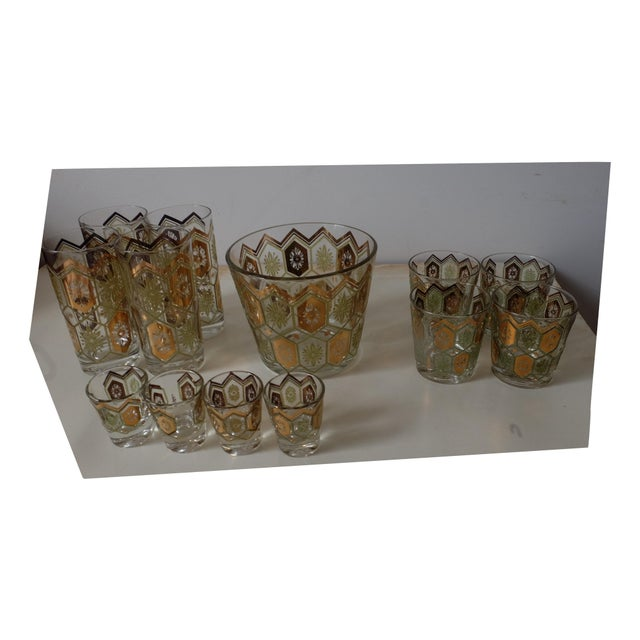 All in excellent condition, glimmering Gold and Green Ice Bucket with a Set of 4 high ball glasses, 4 tumbler glasses and...