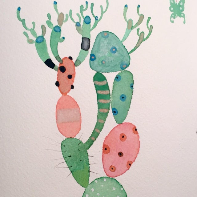 """""""Picasso Cactus"""" Watercolor Painting - Image 2 of 3"""