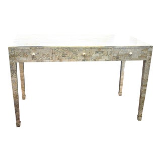 Vintage Maitland-Smith Tessellated Stone Desk With Brass Inlay / Console Table