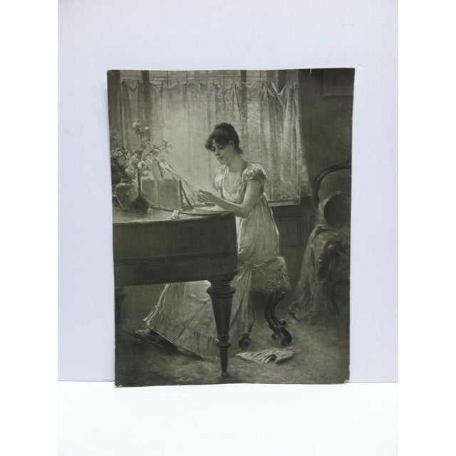 """Vintage Figurative Black & White Print """"The Old-Old Song"""" by Percy Moran For Sale In Pittsburgh - Image 6 of 6"""