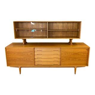 Rosengren Hansen for Dyrlund Danish Modern Teak Sideboard and Hutch, 1960s For Sale
