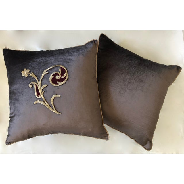 Pair of Dark Grey Velvet Pillows Re-Designed With Antique Silver Metallic Wire Embroidery. Embroidery C. 1800-1810. By...