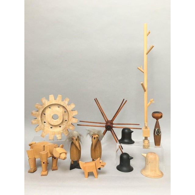 Industrial Rustic Modern Whitewashed Wood Cog Sculpture For Sale - Image 9 of 10