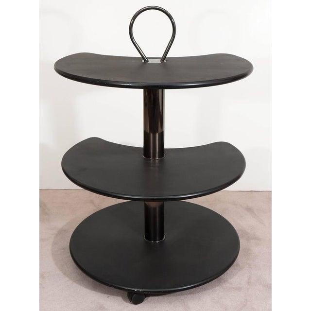 Design Institute of America DIA Black Lacquered Circular Revolving Bar Cart For Sale In Philadelphia - Image 6 of 7