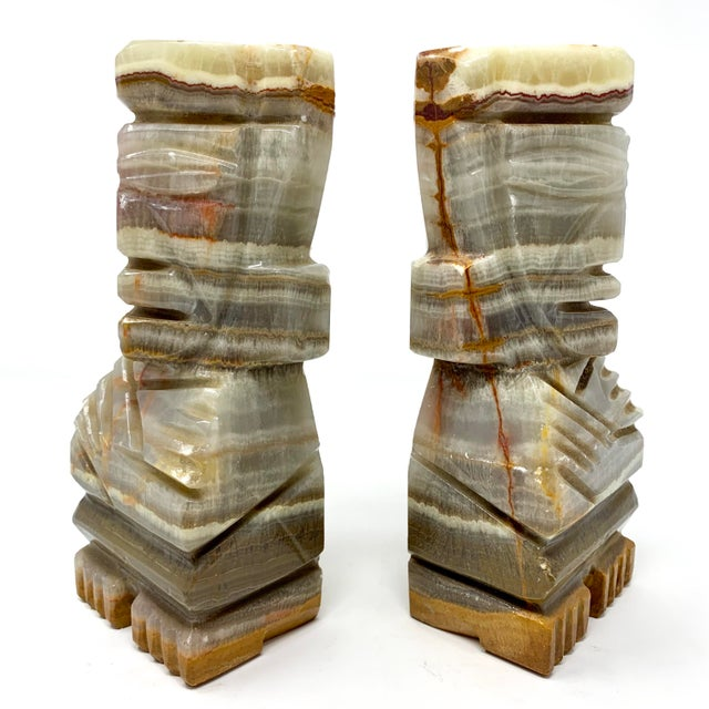 Stone Mid-Century Carved Stone Tiki Bookends - a Pair For Sale - Image 7 of 12