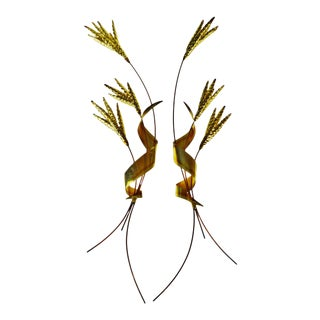 Hollywood Regency Brass Sheaf of Wheat Wall Art - A Pair