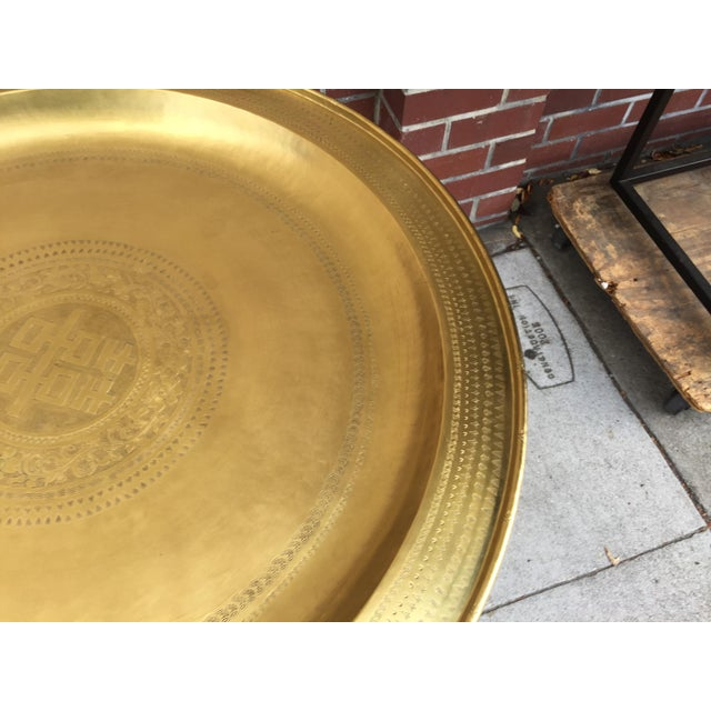 Metal Brass Tray Table With Faux Bamboo Stand For Sale - Image 7 of 10