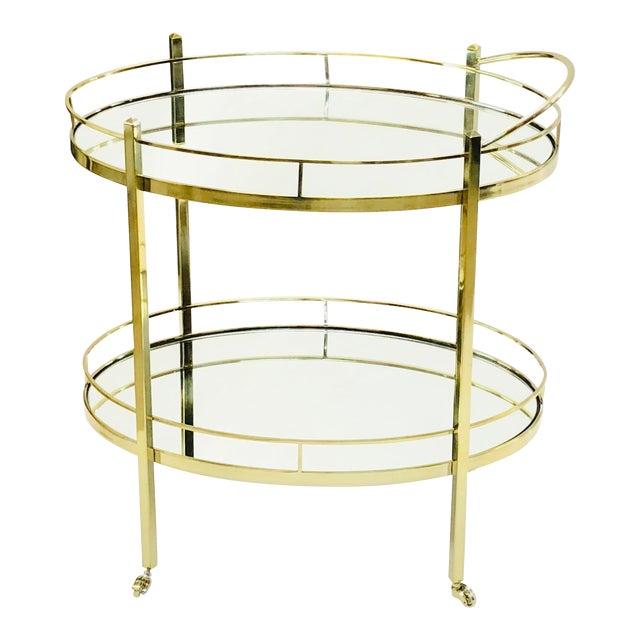Contemporary Brass Wine/Tea Cart For Sale