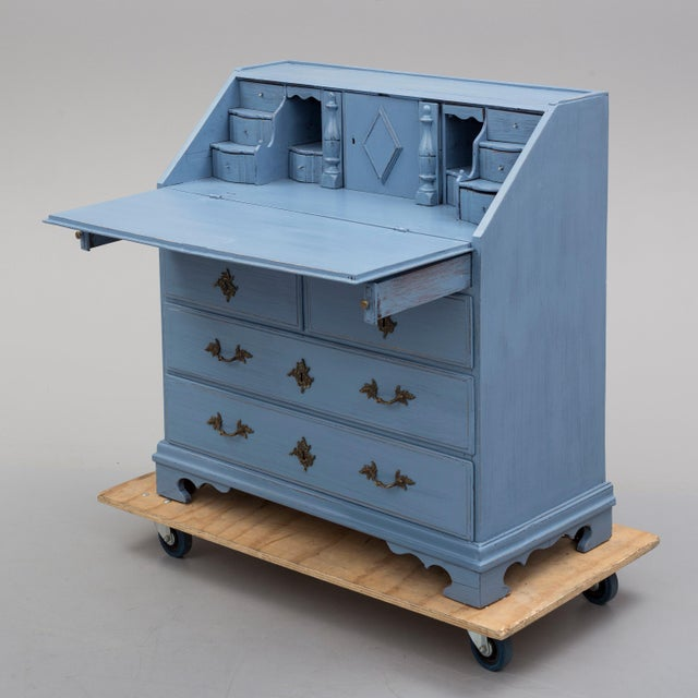 19th Century Swedish Blue Secretaire Desk For Sale - Image 10 of 10