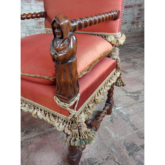 Late 19th Century 19th Century Baroque Red Upholstered Walnut Hall Chair For Sale - Image 5 of 8