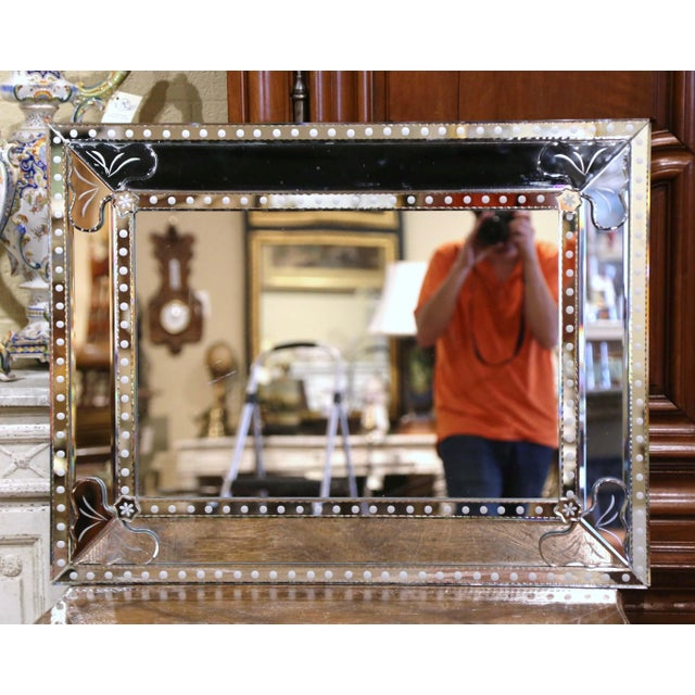 Glass Mid-20th Century Italian Overlay Venetian Mirror With Painted Floral Etching For Sale - Image 7 of 9