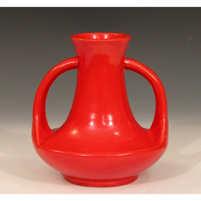 Red Vintage Awaji Pottery Art Deco Chrome Red Glaze Vase For Sale - Image 8 of 8