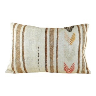 Turkish Cream and Brown Tribal Kilim Pillow For Sale
