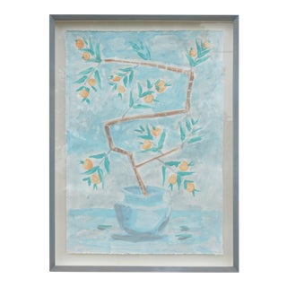 """Orange Tree on Sky Blue Background"" Contemporary Mixed-Media Botanical Painting by Tom Wise, Framed For Sale"