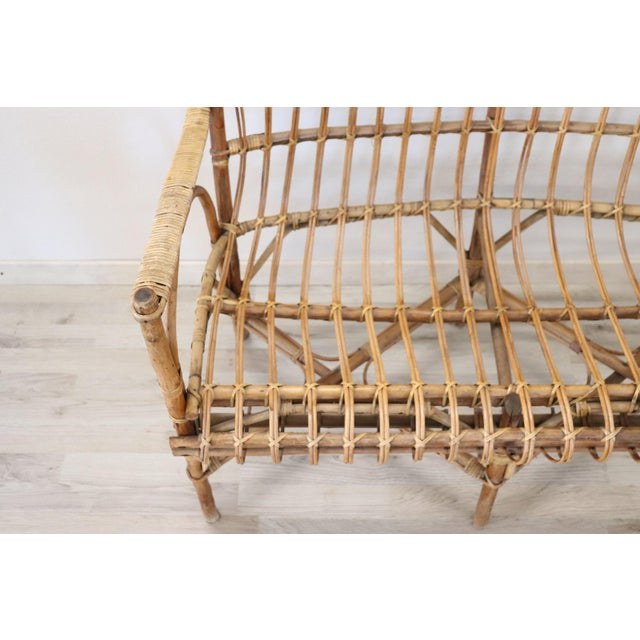 Italian 20th Century Italian Bamboo and Rattan Living Room Set of 4 Pieces, 1960s For Sale - Image 3 of 13
