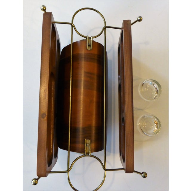 Metal Mid-Century Modern Folding Wood/Gold Dual Appetizer Tray or Bar Caddy For Sale - Image 7 of 8