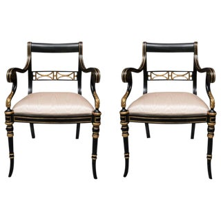 Pair of Regency Style Ebonized and Parcel Gilt Armchairs For Sale