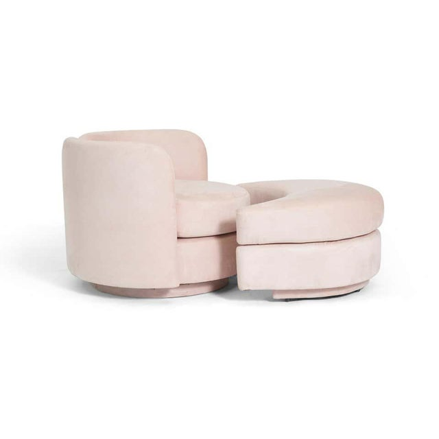Mid-Century Modern Postmodern Swivel Chair With Rolling Ottoman For Sale - Image 3 of 6