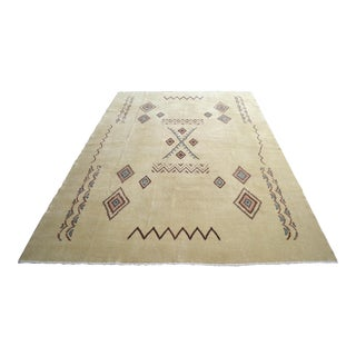 Native American Style Turkish Oushak Rug Low Pile Rug - 6′11″ × 9′10″ For Sale