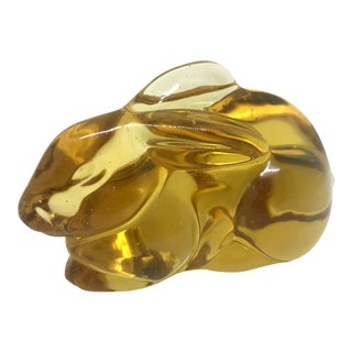 Authentic Murano Glass Vintage Bunny Rabbit Amber Color