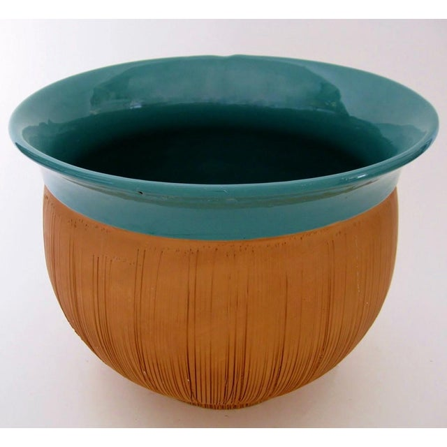 Scored Terracotta & Teal Planter - Image 2 of 5
