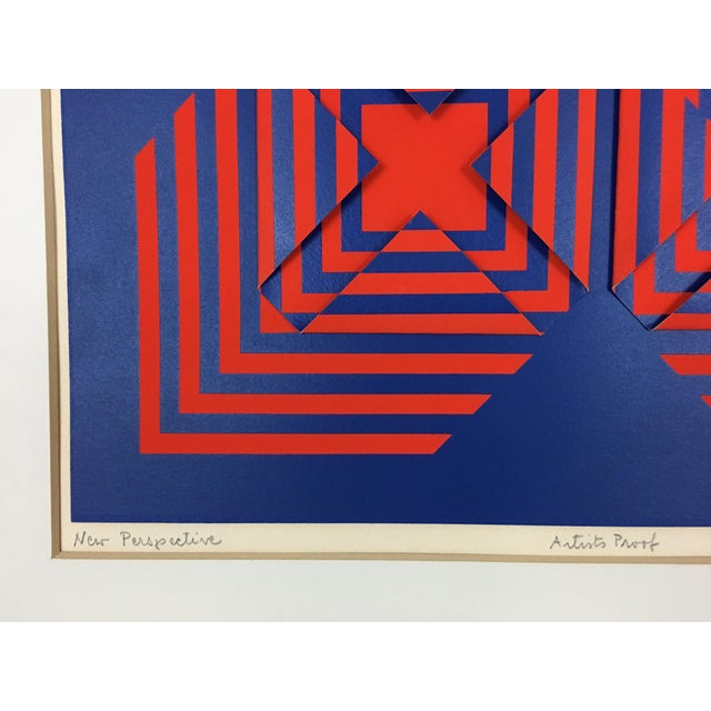 """1971 Vintage """"New Perspective"""" Geometric Op Art Serigraph Collage by Anne Youkeles For Sale - Image 4 of 13"""