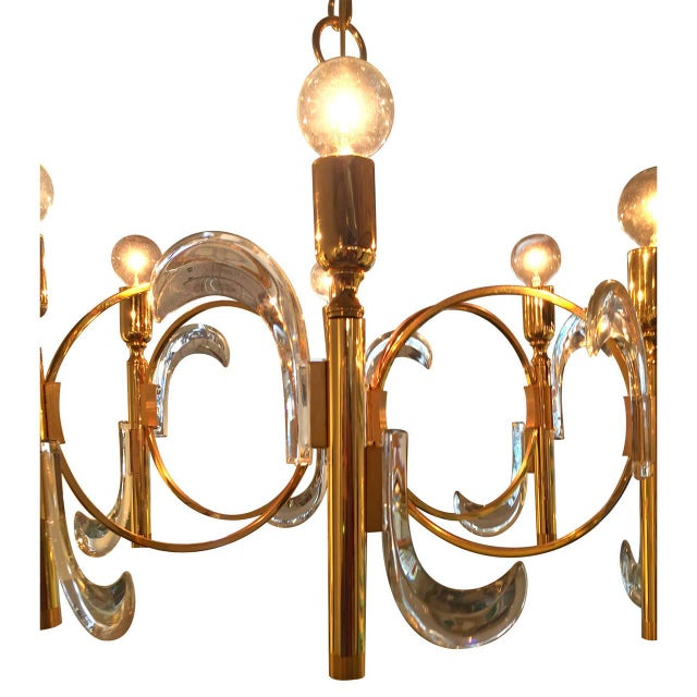 Gaetano Sciolari Lucite and Brass Chandelier - Image 3 of 6