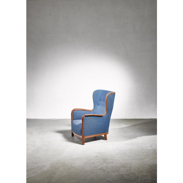 Wood Frits Henningsen Wingback Chair, Denmark, 1940s For Sale - Image 7 of 7