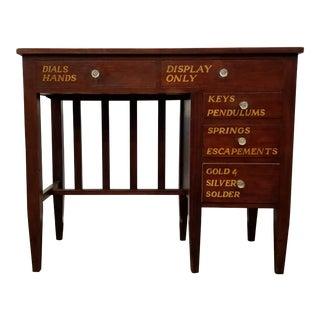 Vintage English Mahogany Clock Repair Bench / Desk For Sale