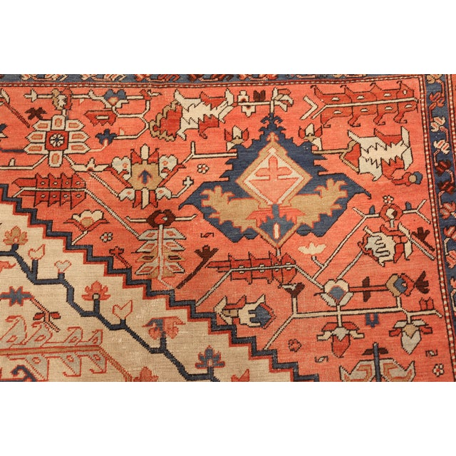 Blue Antique Serapi Persian Ivory Rug - 11′ × 12′6″ For Sale - Image 8 of 10