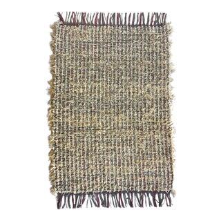 Miniature Tan Handwoven Area Rug - 2′4″ × 3′6″ For Sale