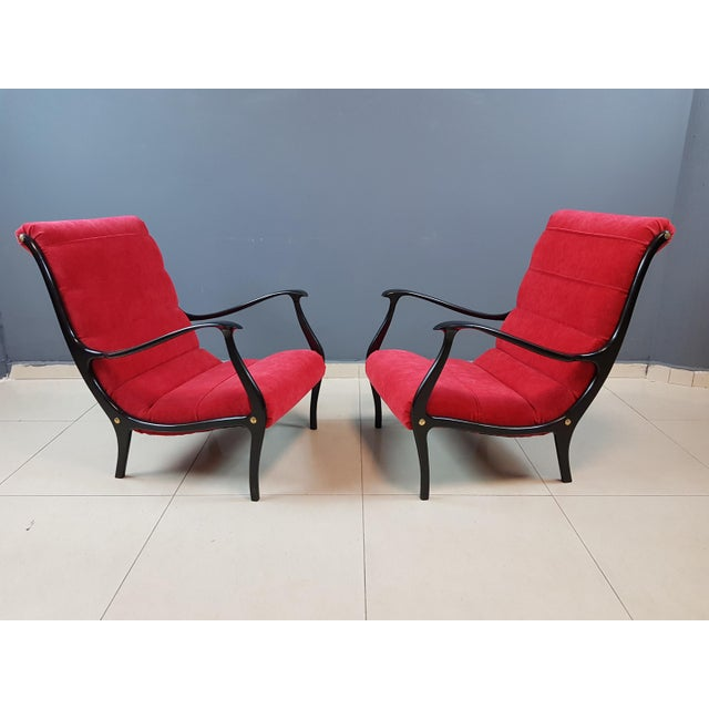 Mid-Century Modern Italian Mid-Century Modern Lounge Armchairs by Ezio Longhi, 1950s Reupholstered - a Pair For Sale - Image 3 of 13
