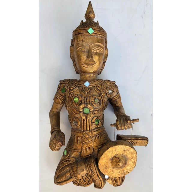 Giltwood Thai Figures of Siamese Musicians, Set of 3 For Sale - Image 4 of 7