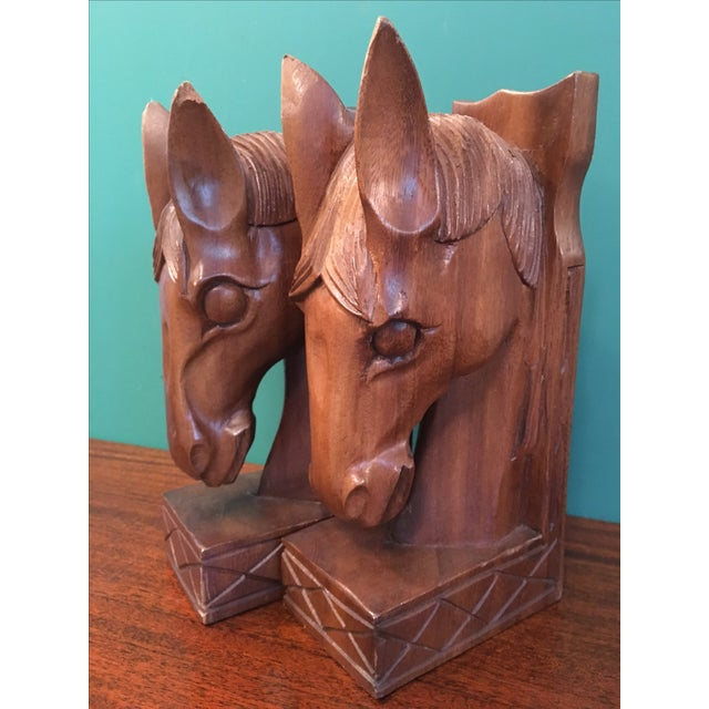 Vintage Wood Horsehead Bookends - A Pair - Image 5 of 7