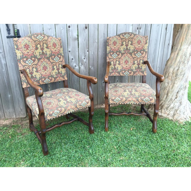 """Blue 19th Century French Solid Oak """"Os De Mouton"""" Chairs - A Pair For Sale - Image 8 of 8"""