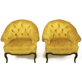 Elegant Pair of Interior Crafts Button-Tufted Barrel-Back Lounge Chairs Preview