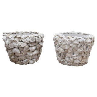 Pair of Oyster Shell Covered Cache Pots