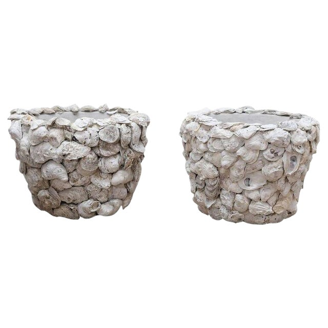 Pair of Oyster Shell Covered Cache Pots - Image 1 of 5