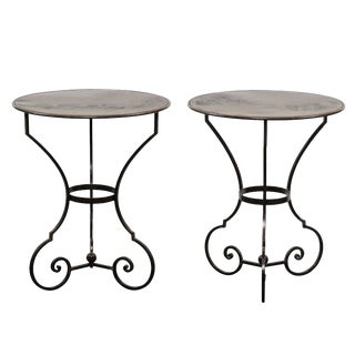 Pair of Petite Round Scrolling Steel Metal Bisto or Guéridon Tables For Sale