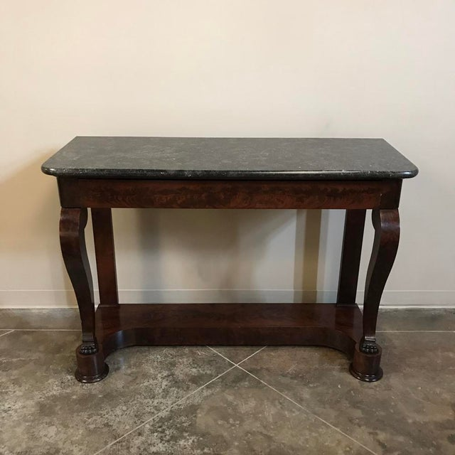 Mahogany 19th Century French Louis Philippe Marble Top Mahogany Console For Sale - Image 7 of 7