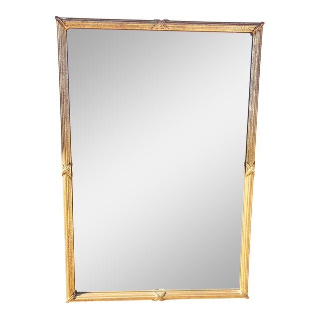1950s Large Gold Leaf Framed Mirror For Sale