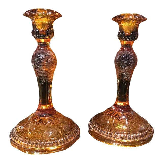 1960s Amber Glass Candlestick Holders - a Pair For Sale