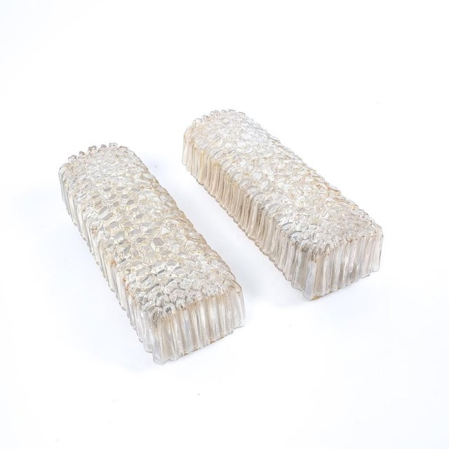 Mid-Century Modern Pair Glashütte Limburg Textured Glass Wall Lights, Germany, 1960 For Sale - Image 3 of 7