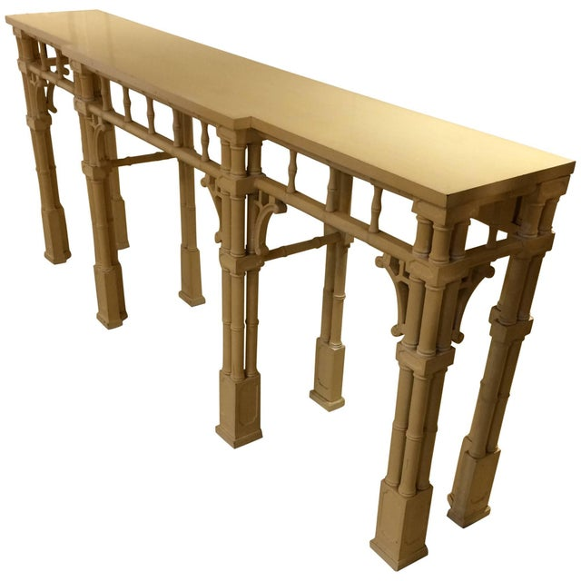 Light Yellow Elegant Long and Narrow Painted Faux Bamboo and Wood Console Table For Sale - Image 8 of 10