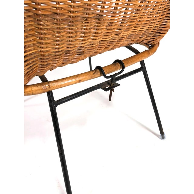Mid Century Italian Rattan Lounge Chair For Sale - Image 10 of 12
