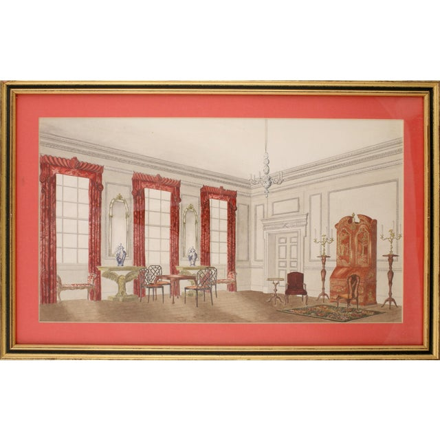 Chinoiserie Interior Watercolor Painting For Sale